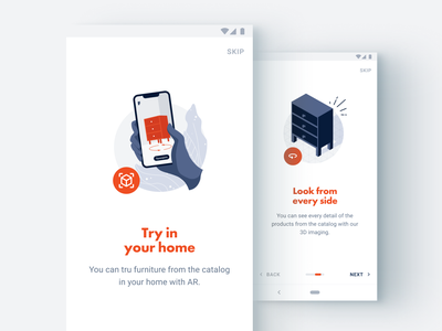 Augmented Reality and 3D furniture logo ux ui branding app augmented reality web sketch flat design art vector illustration icon