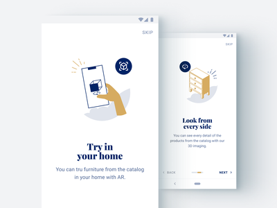 Augmented Reality and 3D Davani Group app logo interior ux ui furniture augmented reality web sketch flat design art vector illustration icon