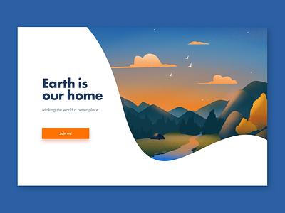 Ecology and travels illustration pro create ux app ui traveling ecology sketch flat design art vector illustration icon