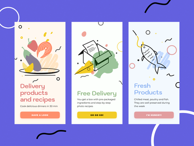 Food Delivery free fresh products recipes box pro create app cook food app kitchen delivery food ux ui flat design art vector illustration icon