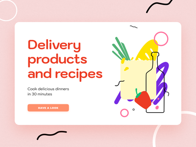 Delivery products and recipes food app food cook book fresh free recipe app recipes products delivery app ux ui sketch flat design art vector illustration icon