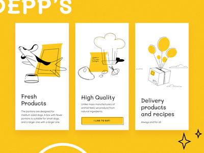 Dog food with delivery products fresh pet delivery kitchen food dog app ux ui sketch flat design art vector illustration icon