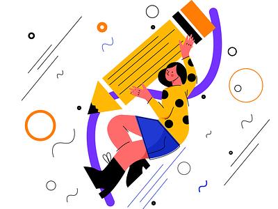 Create for No Gravity illustration web art artist create designer design girl sketch flat vector illustration icon