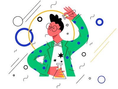 Create for No Gravity illustration magic gravity scientist science logo flat design art vector illustration icon