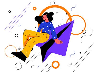 Create for No Gravity illustration designer dream fly communication mailbox telegram mail sketch flat design art vector illustration icon