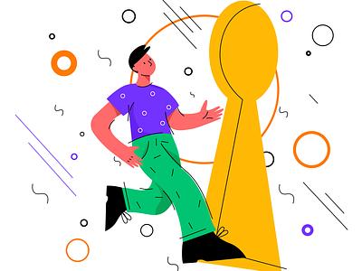 Create for No Gravity illustration welcome search key enter secret app ux ui sketch flat design art vector illustration icon
