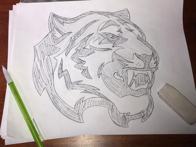 Tiger Sketch teeth illustration hand drawn design custom cat concept wip sketch mascot tiger