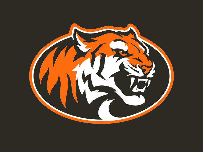 Tapp Tigers black orange cat mascot tigers sports sport logo design tiger