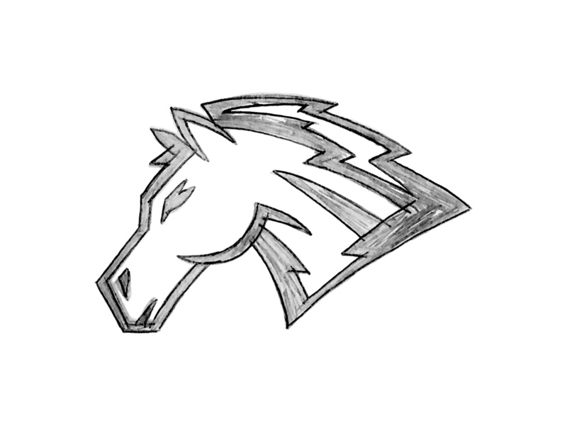 Mustang Sketch elementary school wip sketch mascot illustration horse drawn hand design custom college bucking mustang bronco athletic action