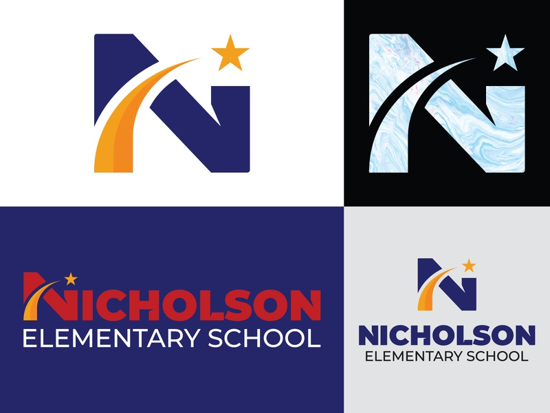Nicholson Logo Lockup system branding typography lettering custom mark design modern school star n letter identity lockup logo brand