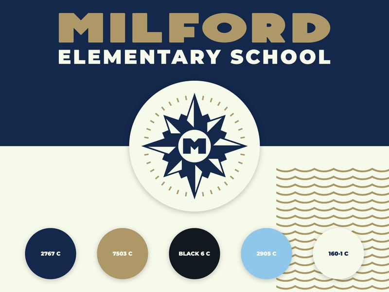 Milford Elementary School Logo sea lockup design mark identity typogaphy colors m star nautical branding school brand logo