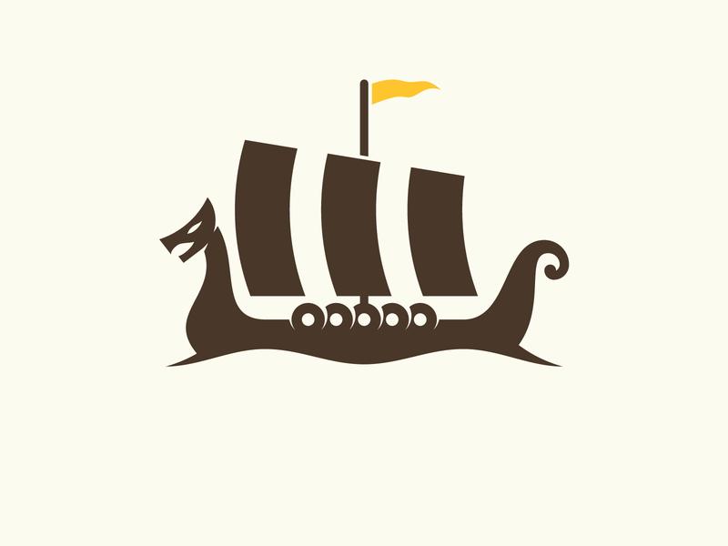 Viking Ship brand vintage mark ship viking school logo identity icon graphic design branding badge