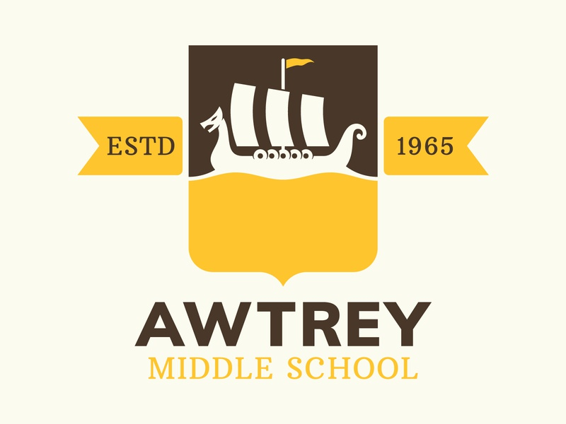 Awtrey Crest badge logo nordic identity badge design crest banner school ship viking logo branding badge