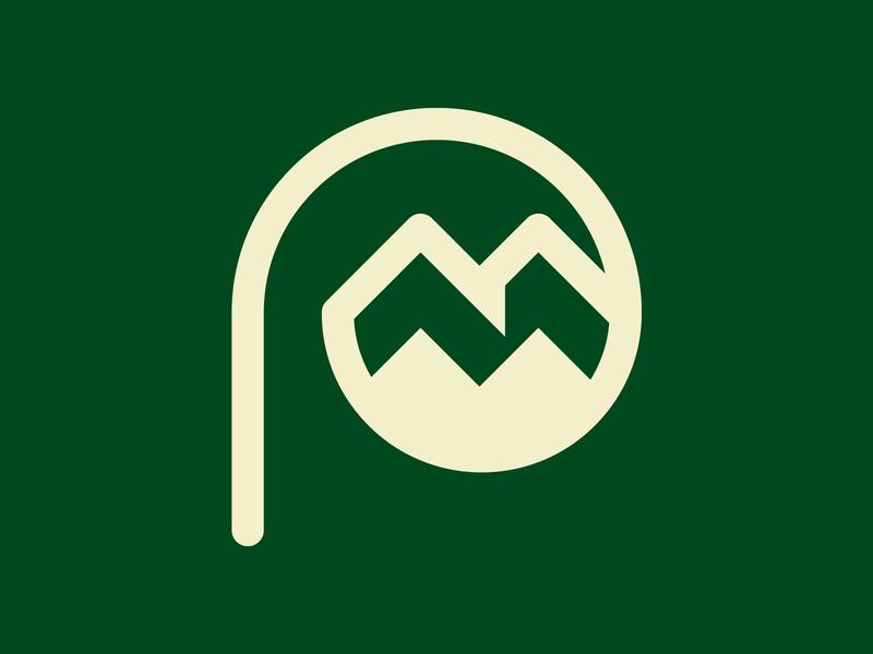 Pine Mountain Logo monogram school identity icon branding brand m p logo mountain