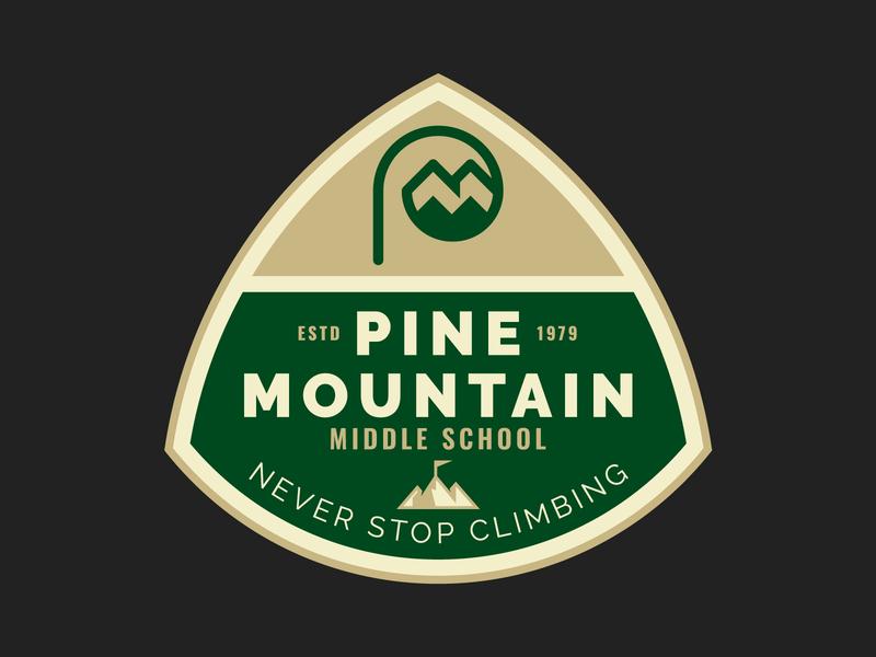 Pine Mountain Badge mountain top sketches process icon typography mountain logo identity branding brand badgehunting badge