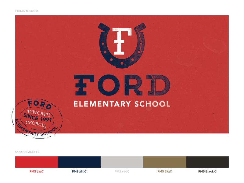 Ford Elementary School Logo lettering lockup school f horseshoe guidelines design brand identity badgehunting badge logo branding