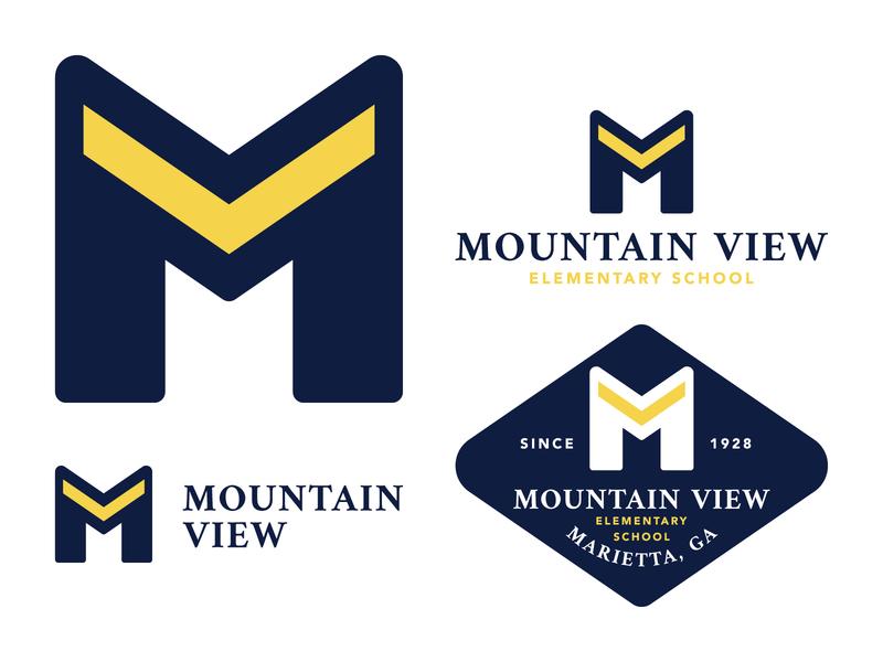 Mt View Logo logosystem letter v m custom logo lockup system badgehunting badge identity school branding brand