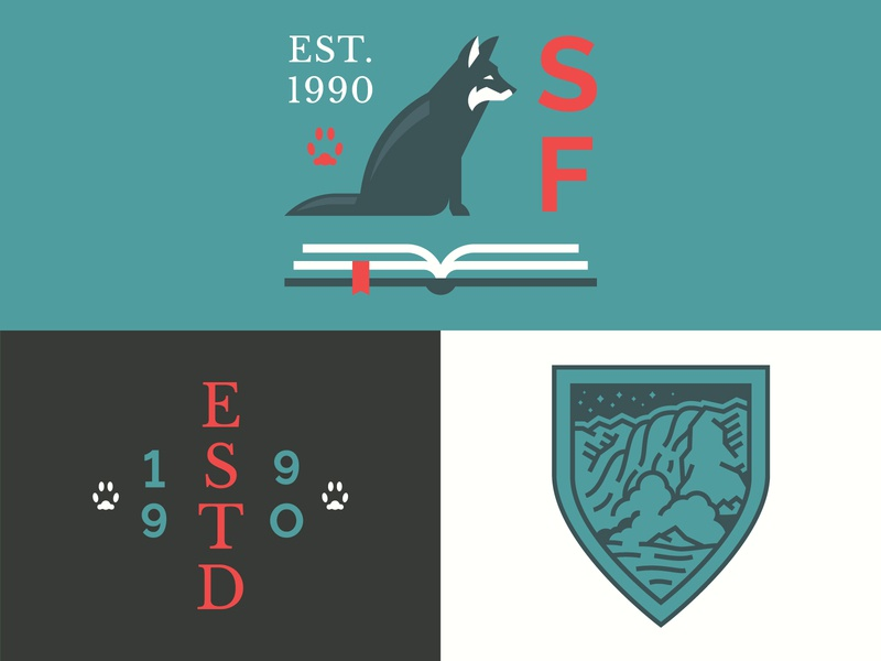 Shallowford Falls lockup design book school illustration modern paw print fox crest badge logo icon brand identity identity brand