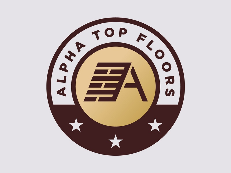 Alpha Top Floors letter a a flooring floor icon logo badgehunting badge crest system custom identity design branding brand