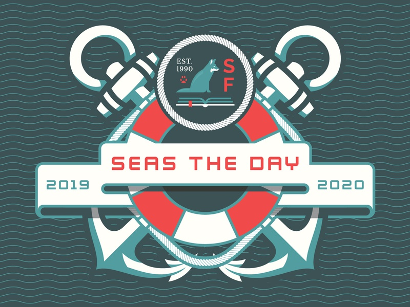 Seas The Day theme life saver school illustration badgehunting badge ocean sea water wave rope anchor nautical design custom