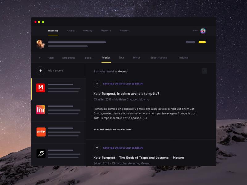 Musicdata - Music news feed app feature