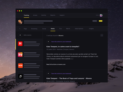 Musicdata - Music news feed app feature release discovery curation media bookmark newsfeed news music promotion music music app dark ui dark mode dark theme