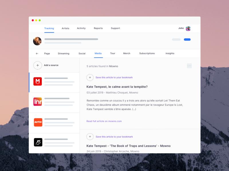 Musicdata - Music news feed app feature ☀️light mode