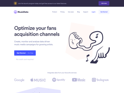 Musicdata landing page home