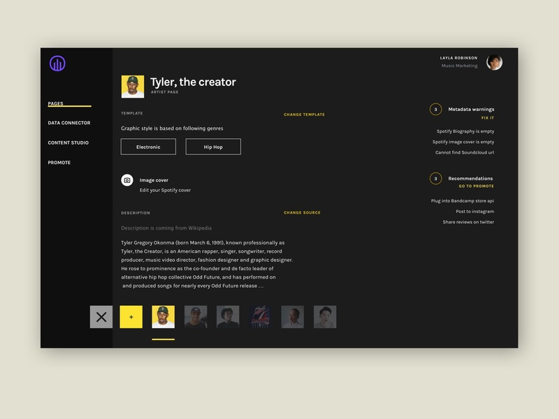 Musicdata dashboard concept - Dark mode - home screen