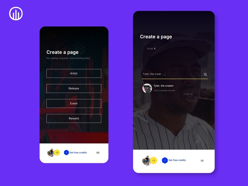 Musicdata mobile app concept musicdata music release event app tyler the creator music marketing artist promotion page builder mobile ui mobile app design mobile artist api music music app data discovery music promotion