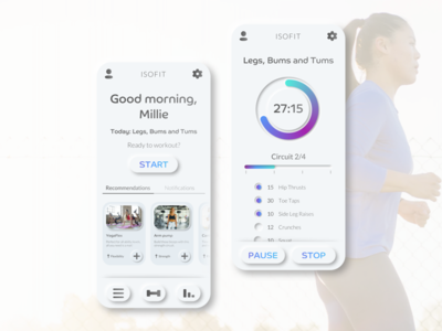 Concept fitness app UI design