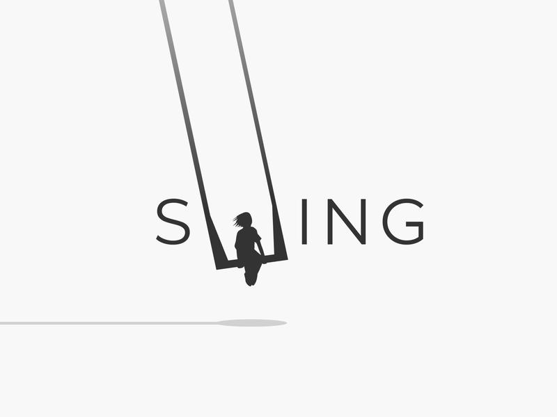 swing wordmark logotype wordmark typography flat design vector simple logo clean playground movement pendulum sway swinging swing