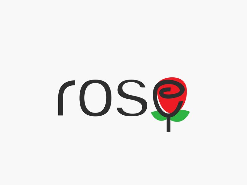 rose wordmark illustration typography logotype wordmark vector simple logo flat design clean redrose rose