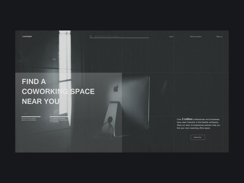Covorking design coworker coworking space co-working work job uxdesign homepage uidesign website design