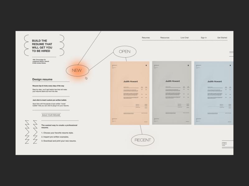 Design for Resume Builder Service resume template builder resume design resume uidesign website design