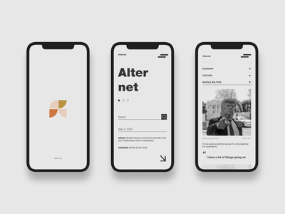 Design of the AlterNet mobile app news articles news portal news redesign homepage uidesign app design