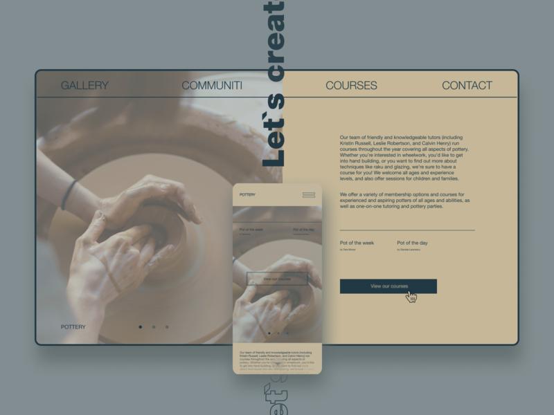 Pottery workshop design pot minimal workshop pottery mobile design homepage website design uidesign