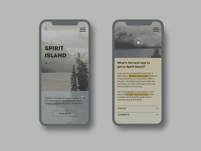 Spirit Islands Design | Part 2 ui design island canada nature tour tourism mobile design website design