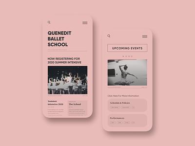 Ballet school Redesign uidesign uxdesign school of art courses dance dancer ballerina ballet mobile app design mobile design website design