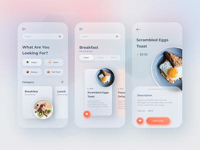 Food delivery app Design glassmorphism delivery app food app mobile app mobile design uxdesign uidesign website design