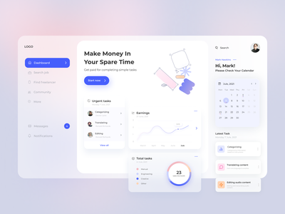 Part-time job app Design dashboard glassmorphism job app job app uxdesign uidesign
