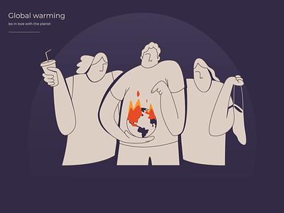 Wildfires accelerate Global Warming environment ecology planet wildfire global warming warming person web design design illustration