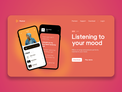 Musicer app Design premium subscription streaming service band singers fall colors artists concept webdesign app design listen to music app music