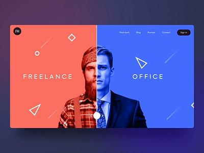 ⛓Concept - freelancer to businessmen homepagedesign website design designstudio animation design dynamic design red and blue comparison animation freelance