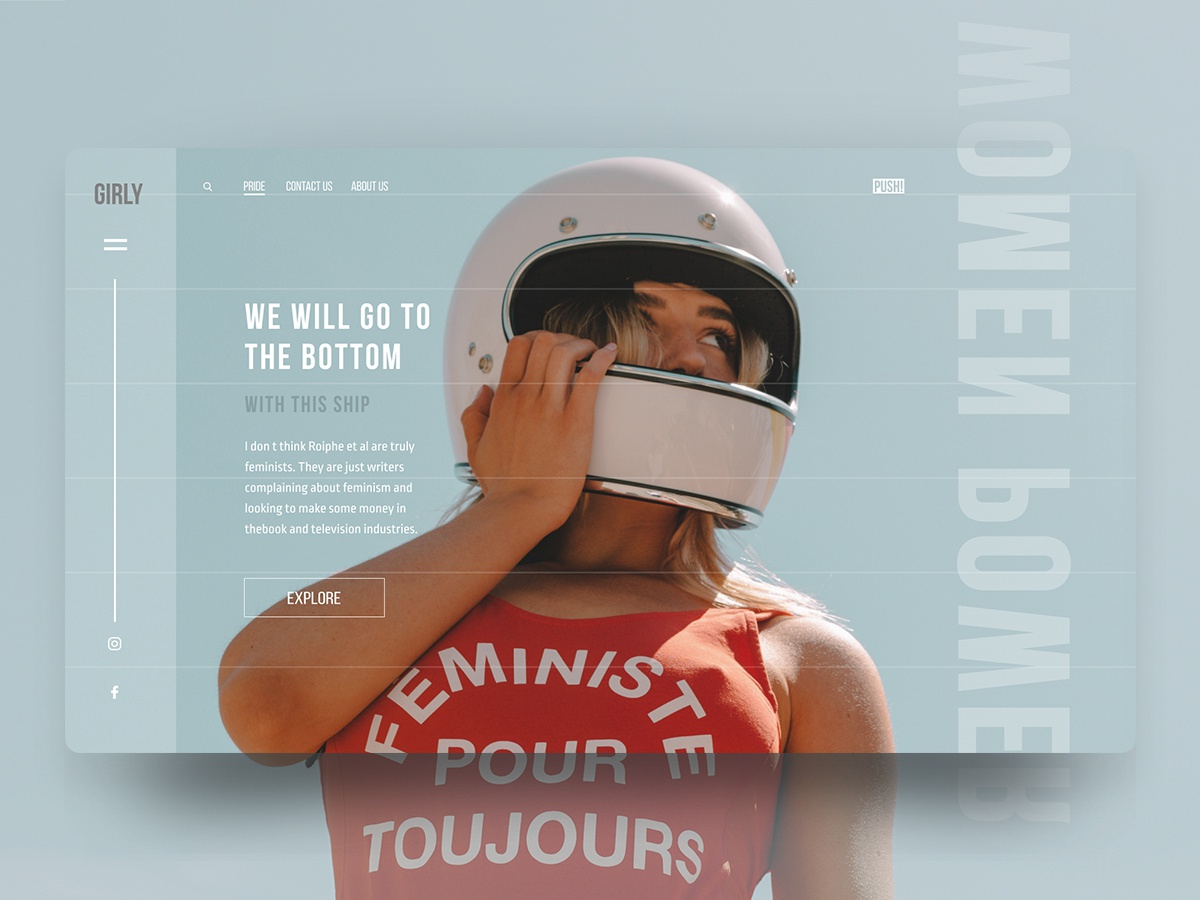 🙈 FML PWR website for Dribbble :) power feministe feminism female women modern design animation ui creative promo site clean waves concept type web homepage