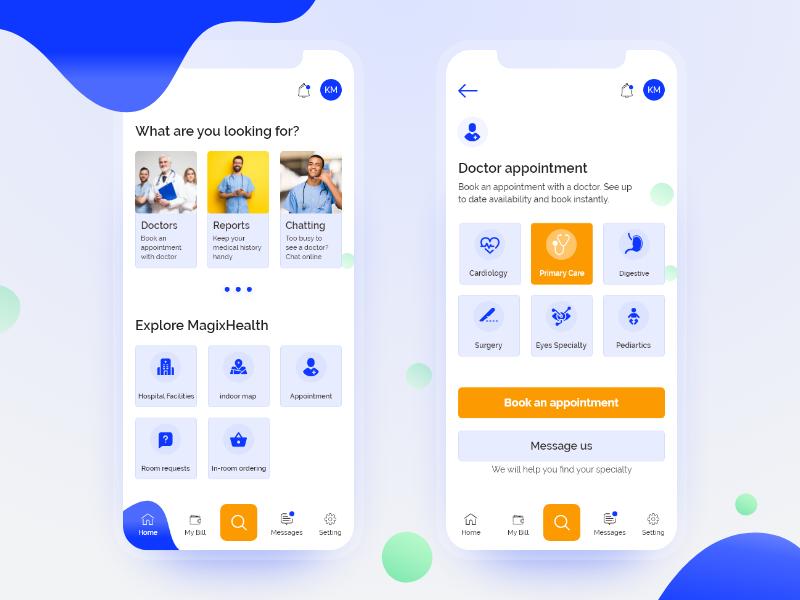 MagixHealth App design ui uiux health care clean design clean ui app hospital care healthcare health app healthy