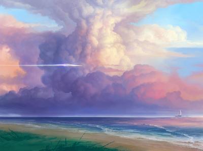 Cloudy. Sunset. Glider digital art aleksey litvishkov 2d art illustration waves yacht glider beach sea clouds cloudy sunset landscape