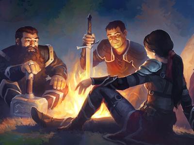 Three adventurers фэнтези арт campfire adventurers fantasy aleksey litvishkov 2d art illustration