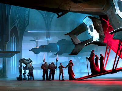 Join The Best spaceship spaceport sci-fantasy sci-fi aleksey litvishkov 2d illustration art xsolla