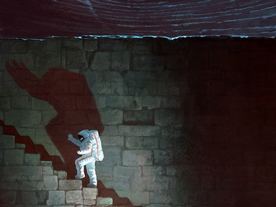 Onto The Stage! shadows stairs stage astronaut in cosmos dreams aleksey litvishkov 2d art illustration